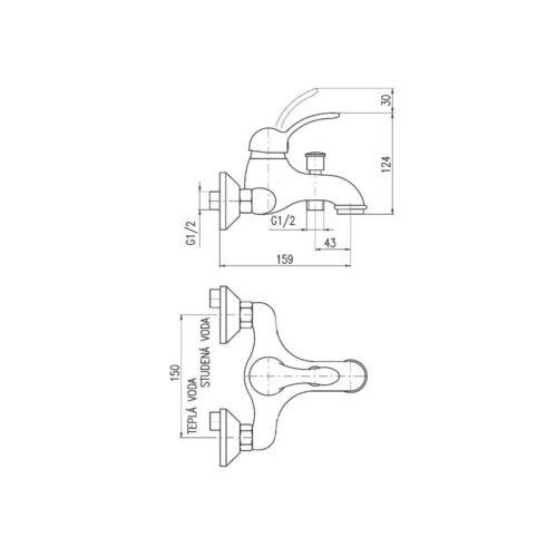 Смеситель для ванны Rav Slezak Labe L554.5CMATC черный
