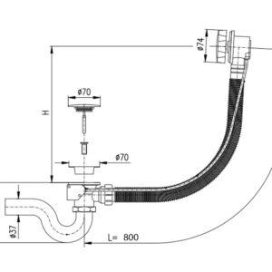 Сифон автомат для ванны SLEZAK RAV MD0588SM/80SM