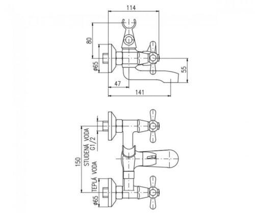 Смеситель для ванны Rav Slezak Morava двухвентильный хром (MK154.5)