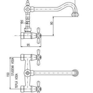 Rav Slezak MK502.5/28 Смеситель для кухни Morava керамические винтели