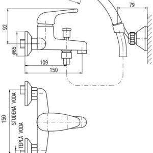 Смеситель для ванной Rav Slezak Svitava S554.5/2 с душевым набором