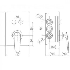 Смеситель скрытого монтажа для ванны и душа Rav-Slezak Tigris TG186BOX, хром