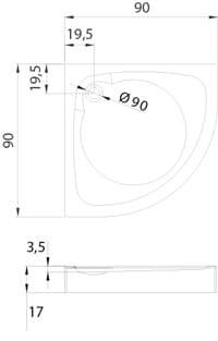 Душевой поддон New Trendy Cantare R55 с панелью 100x100x14 0-0126