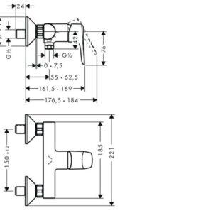 Смеситель для душа, однорычажный HANSGROHE Planis Steel Optic (14086800)