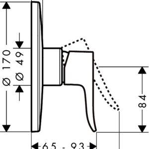 Смеситель для душа, однорычажный HANSGROHE Metris (31652000)