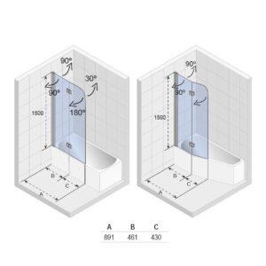 Ширма (шторка) для ванны NAUTIC N500 DELTA 150+160