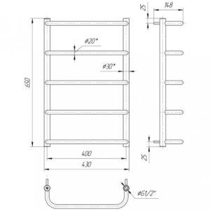 Водяной полотенцесушитель Стандарт HP 650×430/400