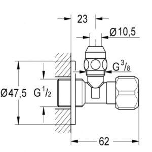 Grohe угловой вентиль 3/8 (2201700M) универсальный