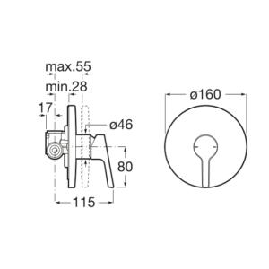Змішувач для душа Roca MALVA A5A223BC00 монтаж в стіну
