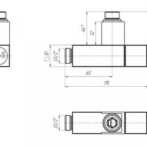 Кран угловой квадрат, G1/2″ комплект 2шт