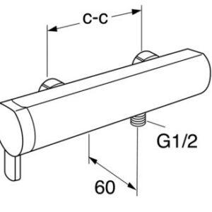 Смеситель для душа Gustavsberg Coloric (серебро) (41 219004 46)
