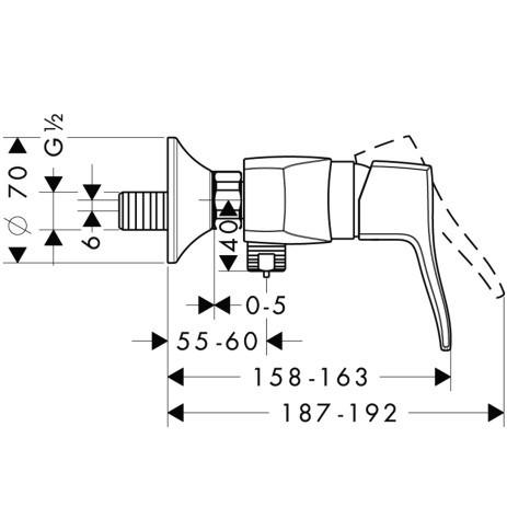 Смеситель для душа, однорычажный HANSGROHE Metris Classic (31672000)