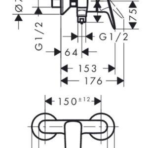 Смеситель для душа, однорычажный HANSGROHE Logis (71600000)