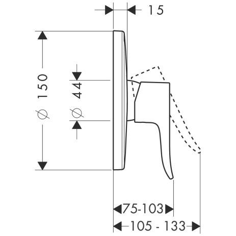 Смеситель для душа, однорычажный HANSGROHE Metris (31686000)