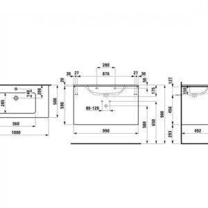 Тумба Laufen Pro S с умывальником 100 см белая глянцевая