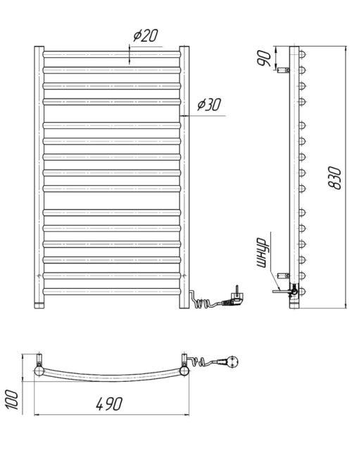 Электрический полотенцесушитель Феникс-I 830x500