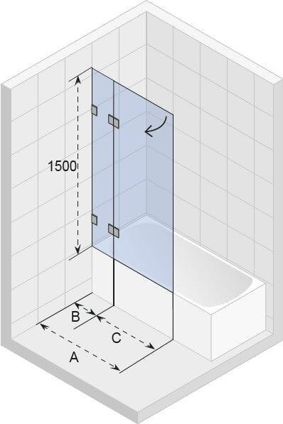 Ширма (шторка) для ванны Scandic M109 V 900x1500