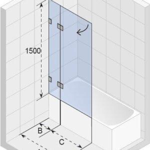 Ширма (шторка) на ванну Scandic M109 V 1000×1500