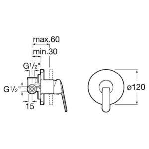 Змішувач для душа Roca VICTORIA A5A2225C00 монтаж в стіну