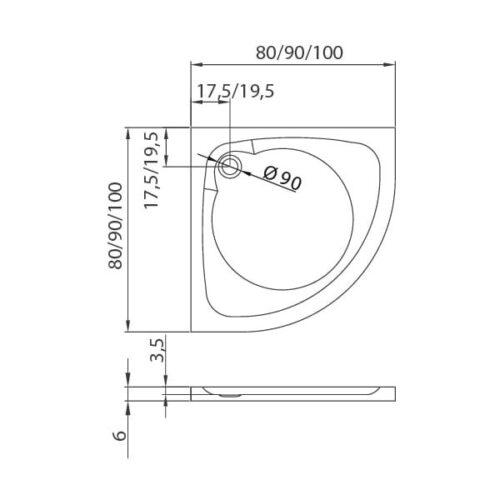 Душевой поддон New Trendy Cantare R55 полукруглый высокий 100x100x14 B-0254