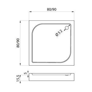 Душевой поддон New Trendy Domio R52 квадратный 90x90x16 B-0348