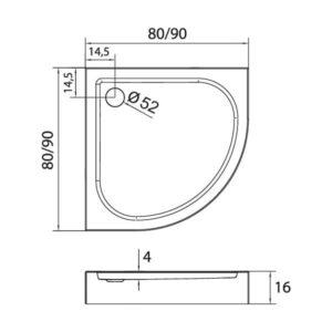 Душевой поддон New Trendy Domio R55 полукруглый 80x80x16 B-0349