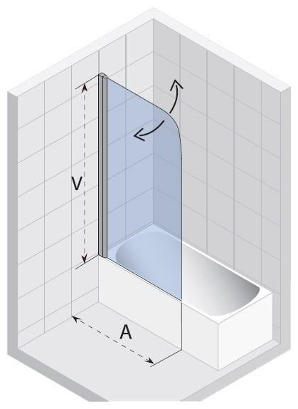Ширма (шторка) для ванны NAUTIC 3000 N107 90
