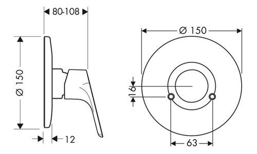 Смеситель для душа, однорычажный врезной HANSGROHE Focus E2 (31967000)