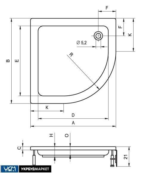 Душевой поддон акриловый RIHO 90 x 90 DA21