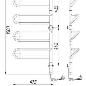 Электрический полотенцесушитель Электра-I 1000×475х150