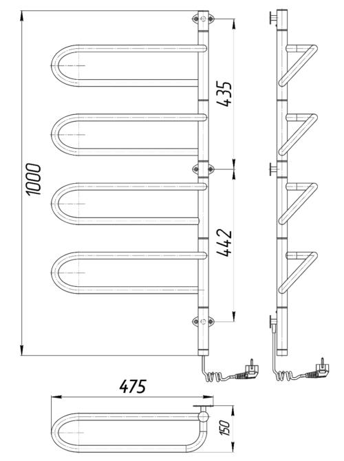 Электрический полотенцесушитель Электра-I 1000x475х150