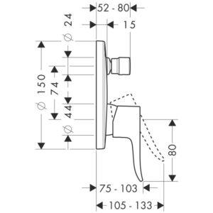 Смеситель для душа, однорычажный HANSGROHE Metris Classic (31487000)