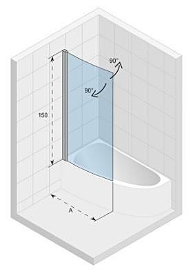 Ширма (шторка) для ванны Riho NOVIK Z108 Left