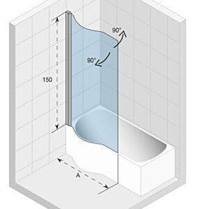 Ширма (шторка) для ванны Riho Novik Dorado Z108 80 Riht