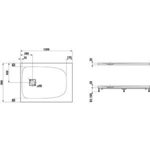 Поддон прямоугольный 120х90 см LAUFEN SOLUTIONS H2154440000001