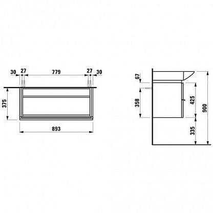 Шкафчик Laufen Case 89x46x38 антрацит H4012520755481