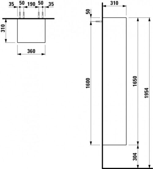 Шкаф подвесной высокий Laufen Palomba Белый H4067521802201