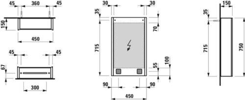 Шкафчик подвесной зеркальный Laufen Frame 25 Белый H4083029001451