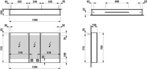 Зеркальный шкаф Laufen Frame 25 Белый H4087049001451