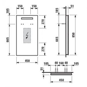 Laufen CASE зеркало H4472059961441  (450х850 мм.) с подсветкой и сенсором