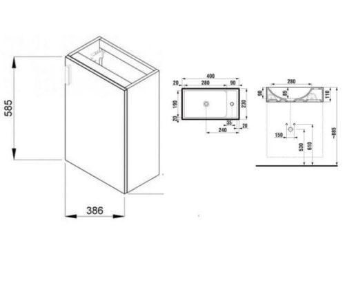 Тумба подвесная с раковиной для ванны JIKA PETIT 40Х23 СМ СЕРЫЙ H4535111753011