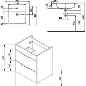 Тумба JIKA Cube H4536121763001 белая с умывальником 55 см