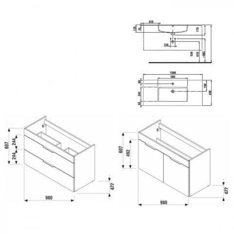 Тумба JIKA Cube H4536521763001 белая с умывальником 100 см