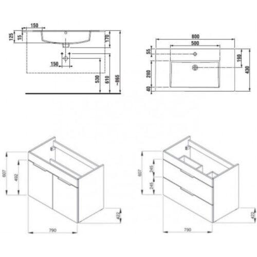 Тумба JIKA Cube H4537621763001 белая с умывальником 80 см