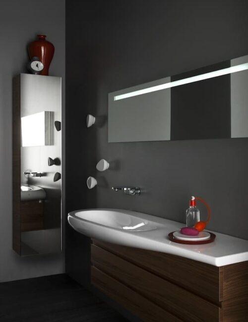 Шкаф высокий зеркальный Laufen Alessi One Белый лак H4580210976311