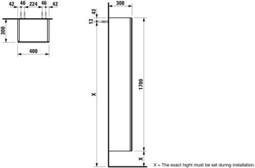 Шкаф высокий зеркальный Laufen Alessi One Белый лак H4580420976311