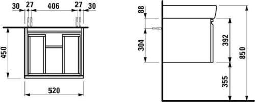 Шкафчик Laufen Pro под раковину белый глянец (H4830340954751)