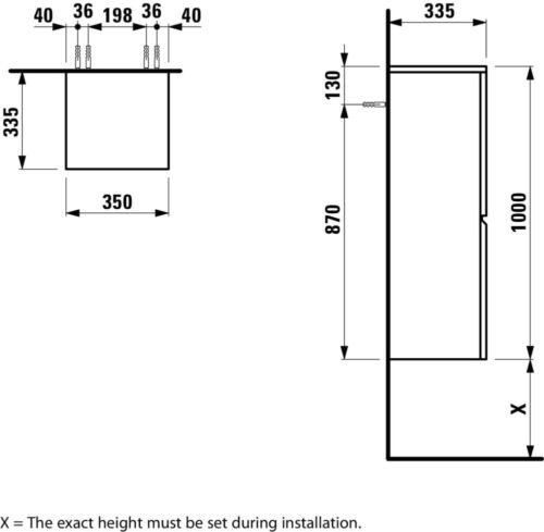 Шкафчик подвесной средний Laufen Pro S Яркий дуб 483112