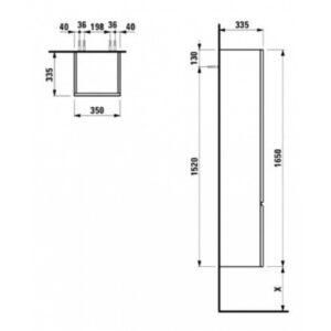 Пенал Laufen-PRO (высокий, 4 стеклянных полочки, петли слева) (капучино) H4831210954651