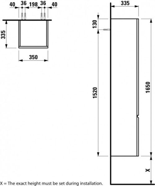 Шкаф подвесной высокий Laufen Pro S Яркий дуб 483121